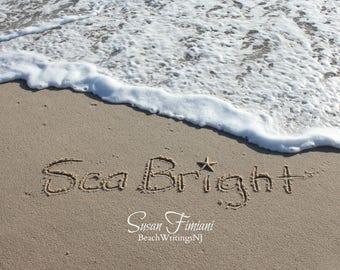 Sea Bright Sand Beach Writing  Fine Art Photo Jersey Shore