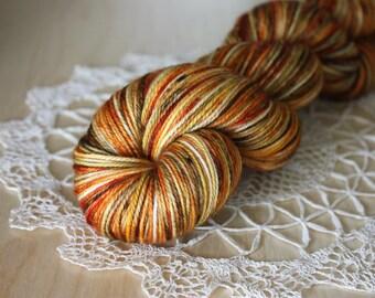 Hand Dyed Yarn / Fingering Weight / Pumpkin Burnt Orange Russet Charcoal Superwash Merino Cashmere Nylon / Gifts for Knitters Crocheters