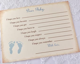 Wishes for Baby Cards Blue Footprints Dear Baby Shower Activity Set of 10
