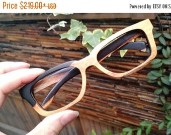 20% off SUMMER SALE unique AAA customize  Paris Autumn two tone rosewood eyeglasses frames from Takemoto
