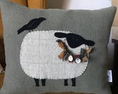 RESERVED FOR APRIL - Primitive Sheep Pillow, Sheep Hand Appliqué Wool