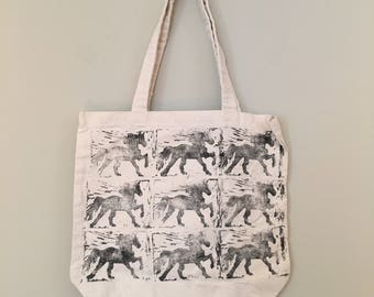 "Canvas Tote Bag, ""Adeline's Horses"" linoleum block print, hand printed, one of a kind"