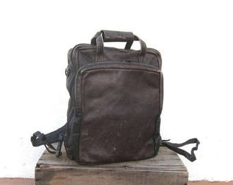 SALE 90s Distressed Chocolate  Brown Leather Backpack Modernist Minimalist Travel Laptop Bag