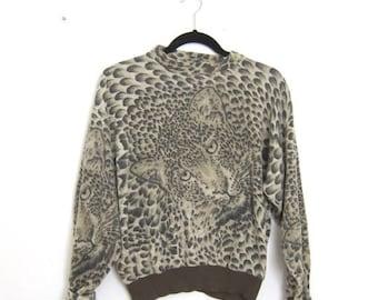 SALE 80s Leopard Knit Mock Neck Cropped Sweater Ladies S/M