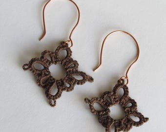 Kindness Earrings hand tatted in brown