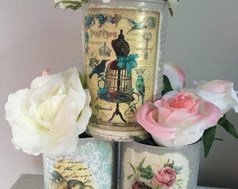 Summer Sale French Country Vase, upcycled Tin Can Vase, Shabby Chic Vase, Tin Can Vase