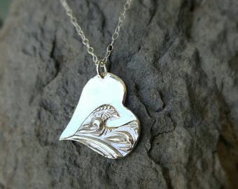 Wave Heart Pendant handmade in Sterling Silver