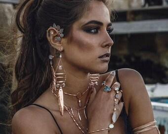 XMAS IN JULY Rosewater Earrings /// Pearls, Gemstones & Feather Earrings