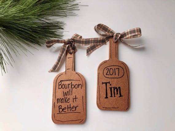 Personalized, christmas, bourbon bottle, ornament,  Hand painted ornament, christmas ornament, mens ornament, bourbon lovers ornament