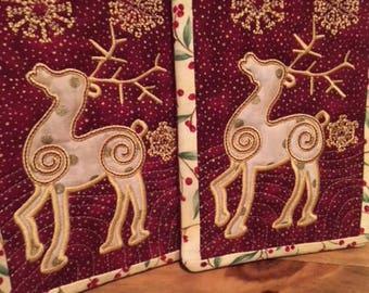 Embroidered Reindeer Mug Rugs, Set of 2