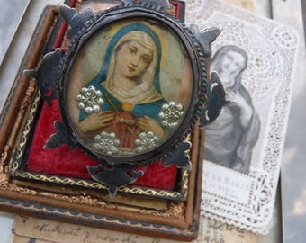Rare Antique Spanish Virgin Mary Nun Reliquary Pendant,  A Talisman for the Passionate, offered by RusticGypsyCreations