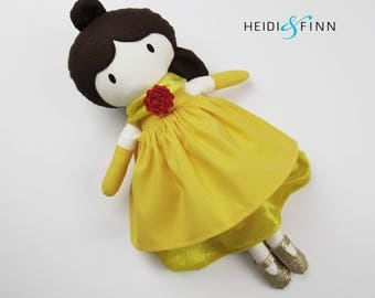 LIMITED EDITION belle Mini Pals soft rag doll keepsake gift OOAK ready to ship gold yellow red