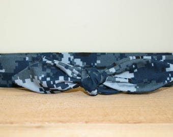 NWU Navy Adult Headband with Tie Hairbow Military Blue Digital Camo