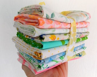 Vintage Sheet Bundles / 1/2 Yards / Assorted / Pack of 10 / Quilting Fabrics