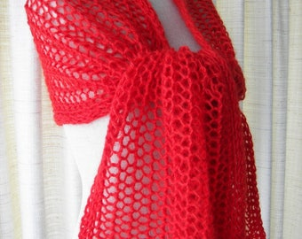 Hand Knit Scarf Wrap Shawl in True RED Mohair Wool / Feminine Gift / Ready to ship
