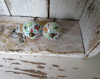 2 Hand Painted White Multicolored Ceramic Knobs with Antiqued Brass Accent for your Drawers or Cabinets B-26