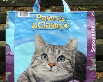 NEW LOW PRICE,  Small Tote Bag, Paws & Claws,  Recycled Grocery, Market, Utility Tote