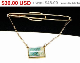 Vintage Moss Agate Tie Bar - Blue Green Moss - Tiebar with Chain - Mens Jewelry