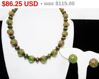 Green Venetian Glass Beaded Necklace - Green and G litterGold Beads Matching Choker & Earrings Signed Italy - Vintage 1940s Mid Century Set