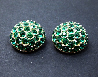 Round Green Domed Earrings - Silver tone & Green Chaton Rhinestones - Signed Bellini Clip on Earrings - Vintage 1960s 1970s Designer Jewelry