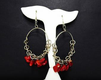 Huge Dangling Hoop Earrings - Dyed Red Coral Beads - Silver Tone Chain Links & Hoops - Modernist Retro Vintage 1990's Large Pierced Earrings