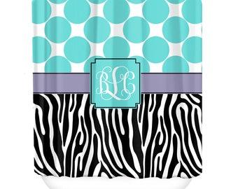 Polka Dot Zebra Custom Personalized Shower Curtain Monogrammed Shower Curtain Custom Personalized Bridal Housewarming Gift Bathroom Decor
