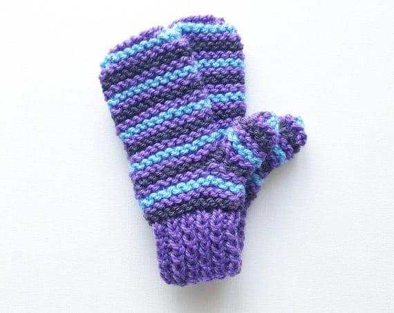 Fig Pixie Mittens - Unisex Purple and Blue Stripy Kid's Mittens for girl or boy - Purple Children's Gloves - Stripy Unisex Child's Mittens