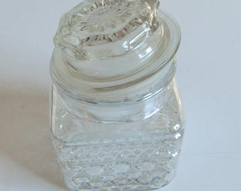 Wexford Glass Anchor Hocking Small Apothocary Style Storage Jar Diamond Pattern
