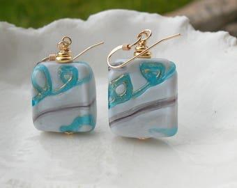 Unusual Murano Glass Earrings