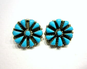 Turquoise Round Clip Earrings Button Sterling Silver Teardrop Native American Jewelry Southwest Jewelry Gift Idea Under 50