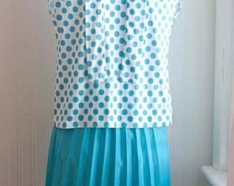 Vintage Polka Dot Blouse Skirt Set, 1060's 60s Secretary Fashion, Pleated Skirt, Pussy Bow, Size M 8P NEW dead stock