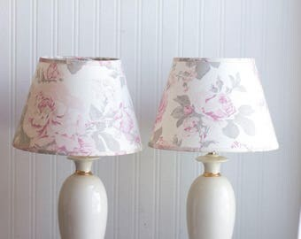 Vintage Lamps, Shabby Chic TBedroom Table Lamps, Ivory and Gold Table with Pink  Grey gray Roses Shade, French Country Decor