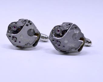 Stunning oval watch movement cufflinks ideal gift for a wedding, birthday or anniversary 54