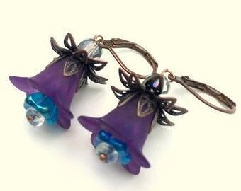 Purple/Turquoise Resin Flower Earrings, Czech Glass Bellflowers, Antiqued Copper Findings, Swarovski Crystals