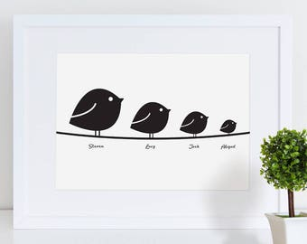 Birds on a Wire Print   Family Print   Family Gift   Bird Print   Animal Print   Personalised Print   Personalised Gift