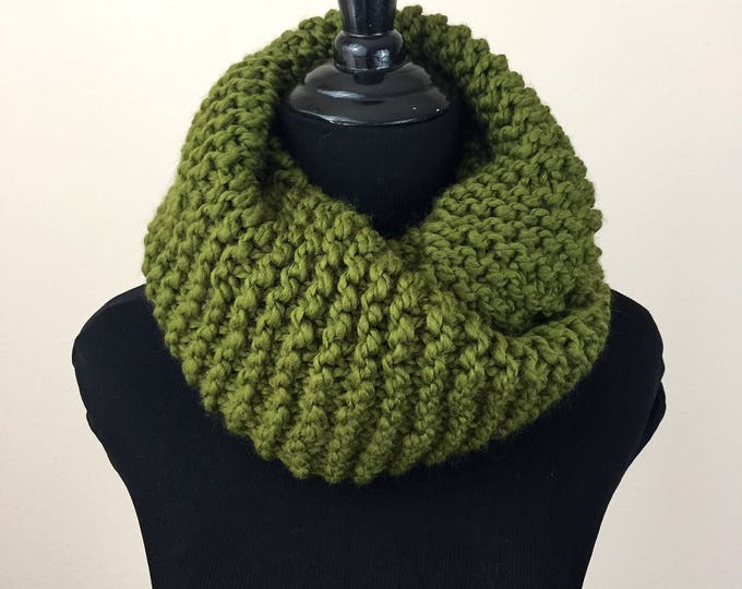 Knit Infinity Scarf in Green