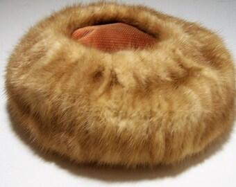 Womans Light Brown Mink Fur Hat, Signed  Deborah Exclusive Mid Century Ladies Chapeau, Classis Style 917