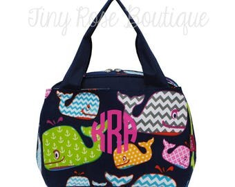 Monogrammed Lunch Tote - Personalized Lunch Bag -Whale
