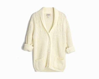 Vintage 70s Men's Shawl Collar Sweater / Ivory Cable Knit Cardigan - men's medium