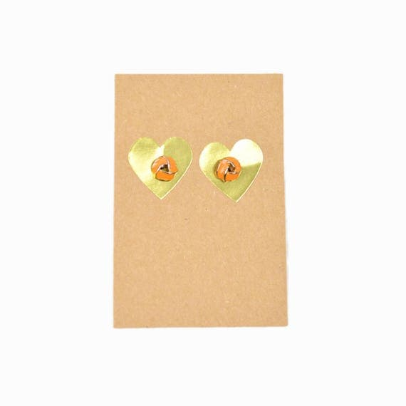 Vintage Bright Orange Twist Knot Earrings / 90s Neon Earrings / Post Earrings / Orange Earrings