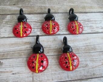 LADYBUG LADY BUG - Glow in the Dark Pendants -  lot of 5  -  Glass Lampwork Focal Bead Wholesale