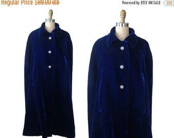 Summer Sale 1960s Blue Velvet Cape