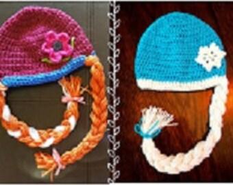 Frozen Elsa and Anna crochet hat set! Girls Elsa and Anna hat set! Frozen Hat set!