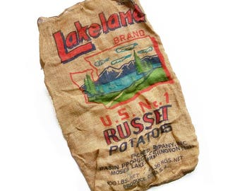 "Vintage Washington State Potato Sack, Gunney Sack, Burlap Bag  ""Washington State Graphics"""
