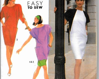 Simplicity 7161 Easy Vintage Wedge shaped Pullover Dress or Tunic and Skirt Color Blocking Patch Pockets Size 8, 10, 12, 14 Uncut