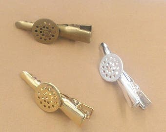 20 Brass Alligator Hair Clips W/ 12mm Sew on/ Glue on Round Pad Antique Bronze / Silver / Gold Plated- Z8391