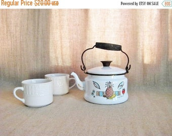 Because of The Brave Sweet Tea Kettle with Georges Briard Ambrosia Design / White Enamelware Tea Kettle / Vintage Teapot