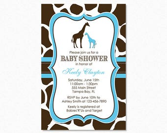 Giraffe Baby Shower Invitation, Boy Giraffe, Blue, Personalized, Printable or Printed