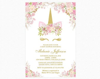 Unicorn Baby Shower Invitation, Pink, Gold Glitter, Personalized, Printable or Printed