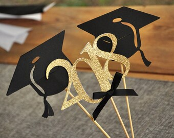 Graduation Party Decoration. Handcrafted in 2-5 Business Days. Black and Gold Centerpiece for Graduation Party 3CT